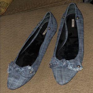 Miu Miu denim flats heels shoe booties boots